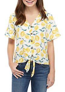 Pink Rose Short Sleeve Button Down Tie Front Top