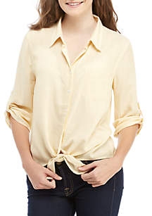 Pink Rose Pinstripe Button Down Tie Front Shirt