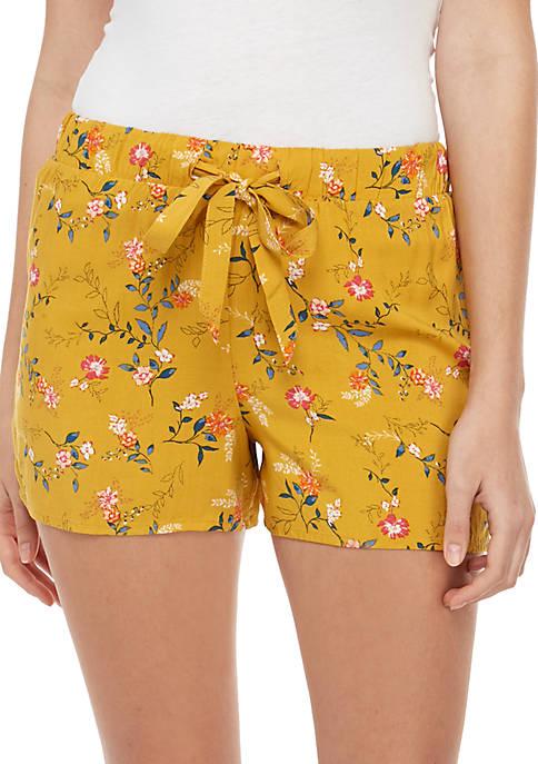 Pink Rose Drawstring Printed Challis Shorts