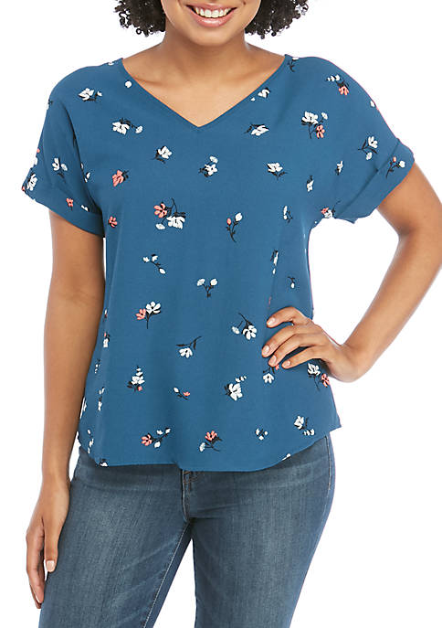 Short Sleeve V-Neck Woven T-Shirt