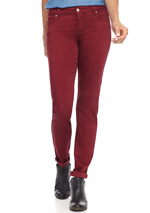 Juniors Mid Rise Color Skinny Jeans