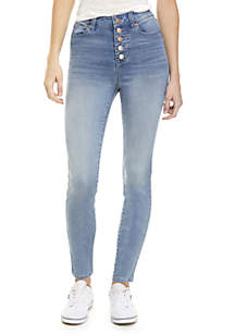 Exposed Button Skinny Tencel Jeans
