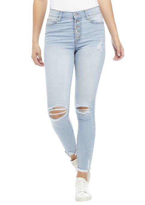 Celebrity Pink Juniors High Rise Exposed Button Skinny