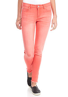Celebrity Pink Mid Rise Color Skinny Jeans with Fray Hem