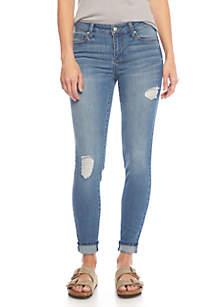 Mid Rise Body Sculpt Destructed Single Cuff Jeans