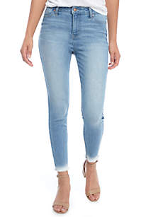 High Rise Reverse Raw Hem Dip Dye Jeans