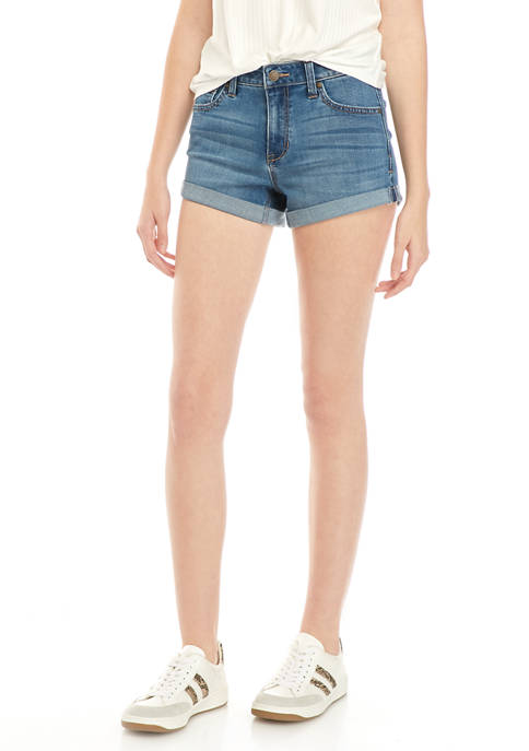 Juniors 3 Inch Roll Cuff Denim Shorts
