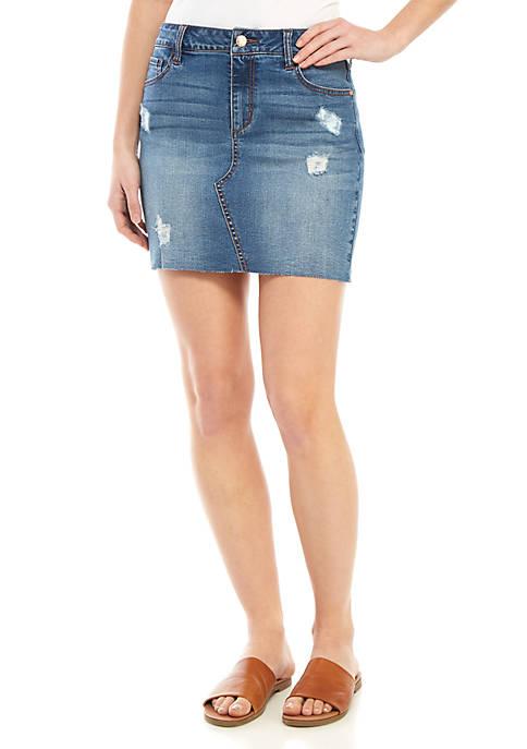 Celebrity Pink Raw Hem Destructed Denim Skirt