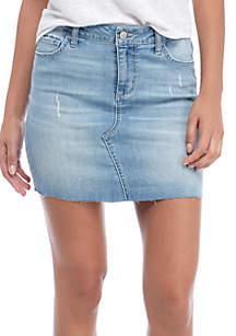 Raw Hem A-line Denim Skirt