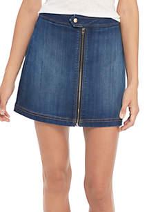 Zipper A-Line Front Denim Skirt