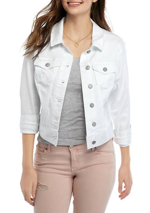 Juniors White Denim Jacket