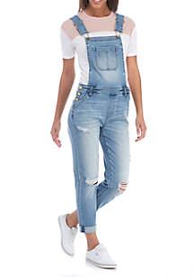 Front Pocket Destructed Long Girlfriend Overalls