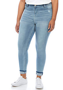 Plus Size Skinny Ankle Double Cuff Jeans