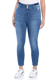 Plus Size Ankle Skinny Hi Rise 3-Button Jean