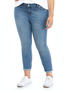 Plus Size Lifter Ankle-Skinny Jeans