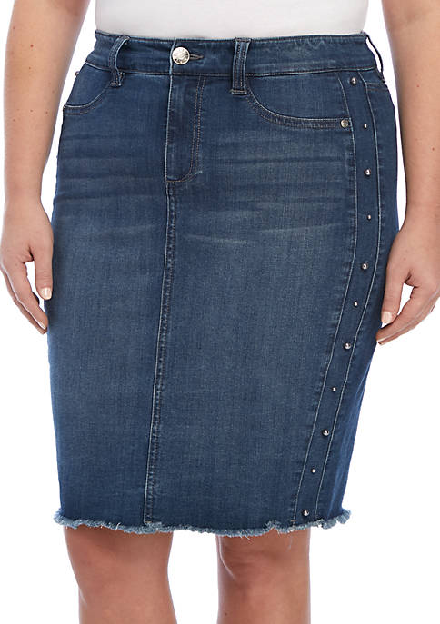 Celebrity Pink Plus Size A-Line Denim Skirt with