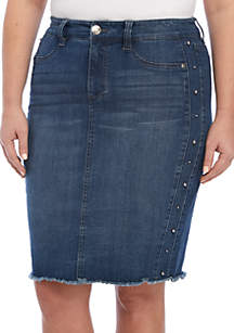 Plus Size A-Line Denim Skirt with Side Studs