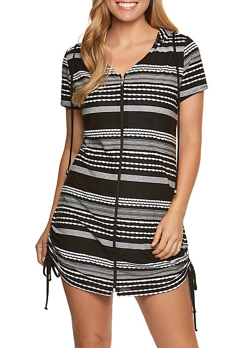 Dotti Ibiza Stripe Zip Front Tunic Swim Cover