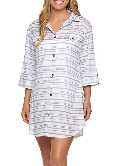 Dotti Baja Stripe Shirt Dress Swim Cover Up
