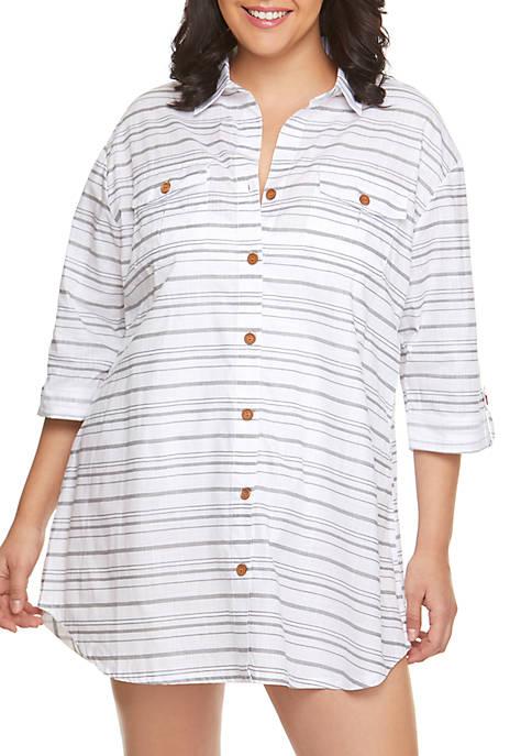 Dotti Plus Size Baja Stripe Swim Shirt Dress