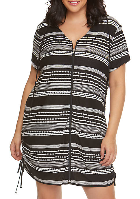 Plus Size Ibiza Stripe Zip Front Tunic Swim Cover Up