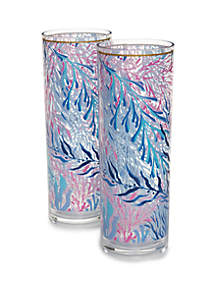 Lilly Pulitzer® Set of 2 Acrylic Hi Ball Glass Kaleidoscope Coral Glasses