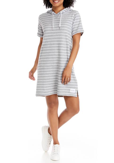 Surf Side Stripe Short Sleeve Hoodie Dress