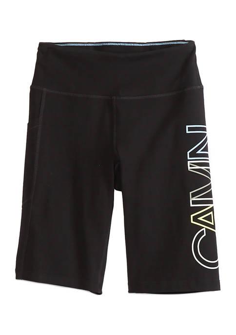 CK Performance Overlap Logo High Waist Biker Shorts