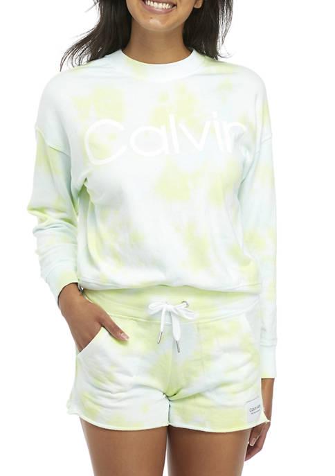 CK Performance Tie Dye Logo Graphic Crew Sweatshirt