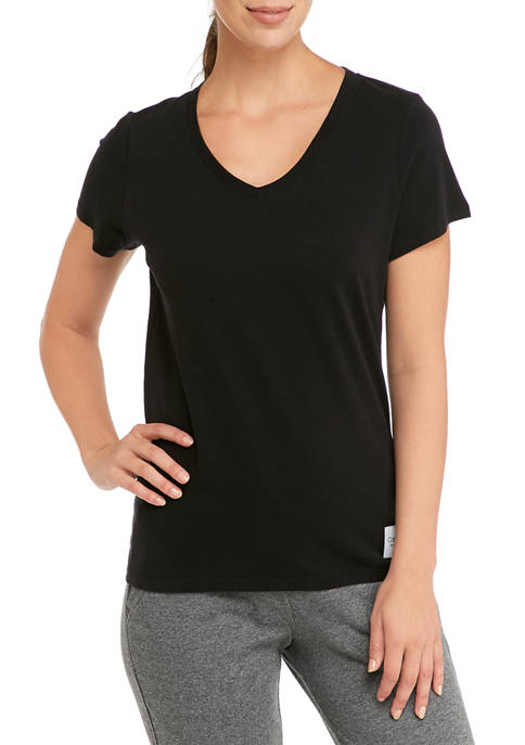 V-Neck Woven Logo Patch T-Shirt