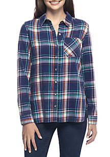 TRUE CRAFT Plaid Button-Up