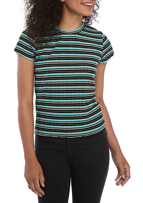 Short Sleeve Striped Rib Knit T Shirt