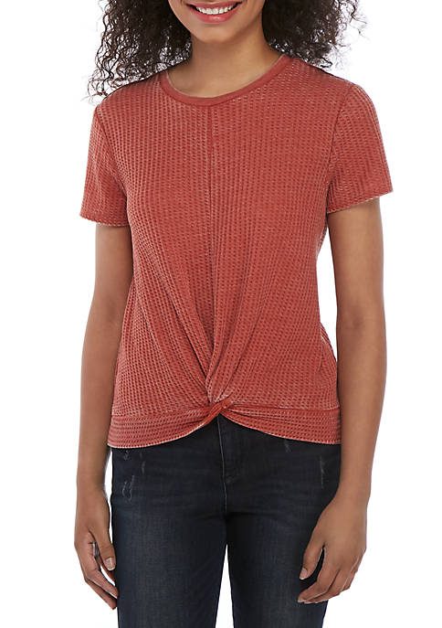 Twist Front Short Sleeve Waffle Knit Top