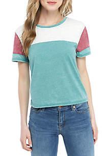 TRUE CRAFT Color Block Sleeve Burnout Top