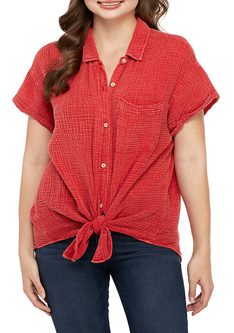 Plus Size Short Sleeve Textured Woven Top