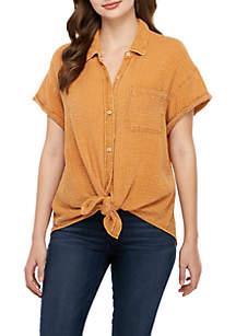 TRUE CRAFT Short Sleeve Textured Woven Top