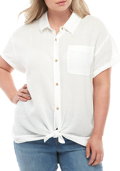 TRUE CRAFT Plus Size Short Sleeve Textured Top