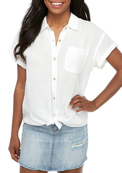 Short Sleeve Textured Woven Top