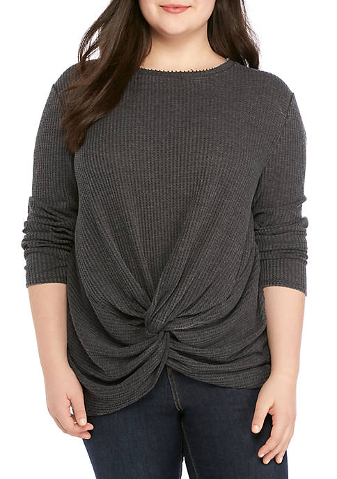 Plus Size Twist Front Waffle Knit Top