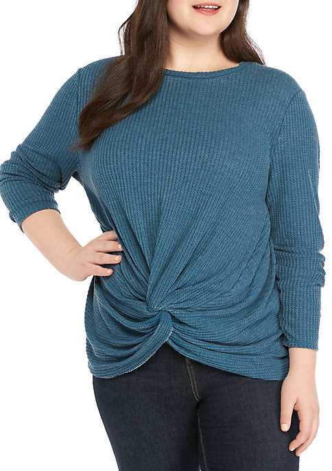 Plus Size Twist Front Waffle Knit Top