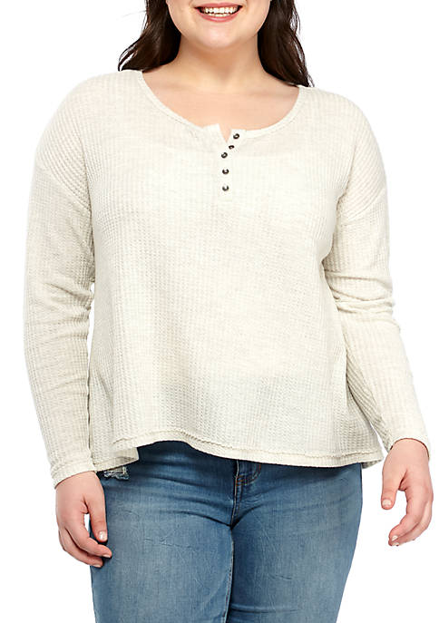 Plus Size Waffle Henley Top
