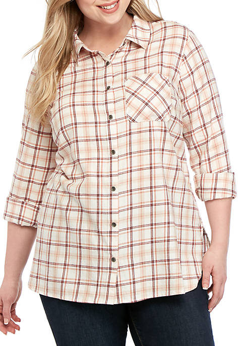 Plus Size Plaid Shirt