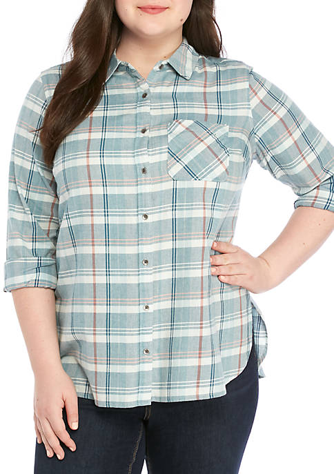 TRUE CRAFT Plus Size Long Sleeve Plaid Woven