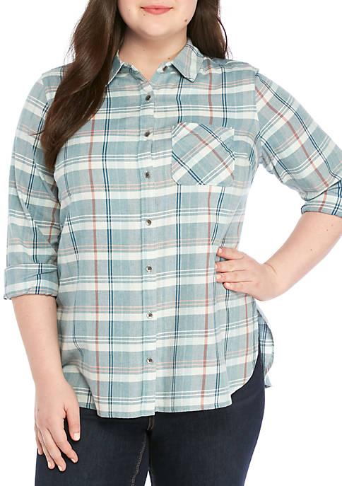Plus Size Long Sleeve Plaid Woven Shirt