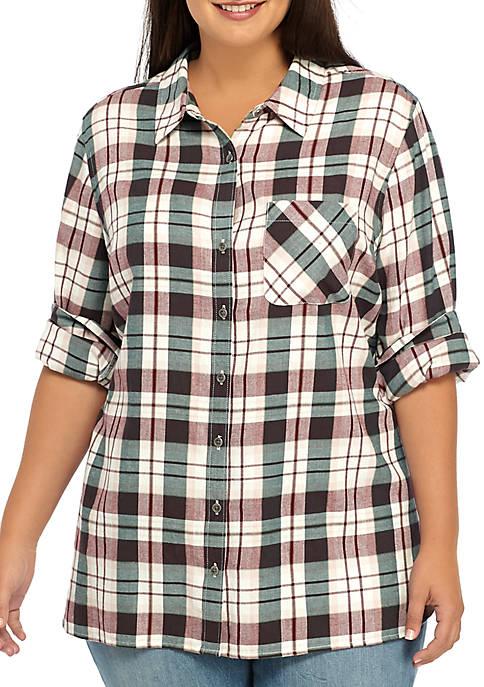 TRUE CRAFT Plus Size Basic Plaid Shirt