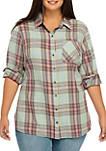 Plus Size Basic Plaid Shirt