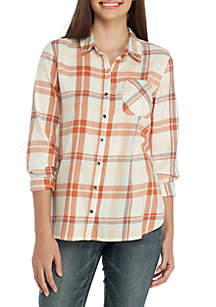TRUE CRAFT Plaid Button-Up Shirt