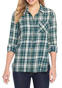 TRUE CRAFT Plaid Woven Top