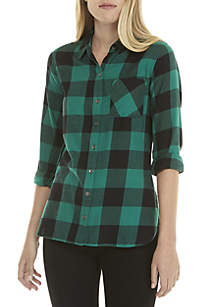 TRUE CRAFT Woven Plaid Top