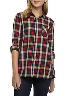 Woven Plaid Top